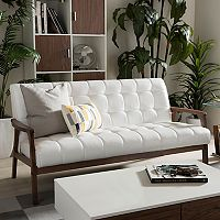 Baxton Studio Mid-Century Faux-Leather Sofa