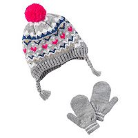 Baby Girl Carter's Fairisle Knit Trapper Hat & Mittens Set