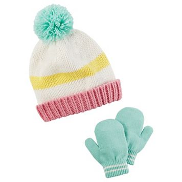Baby Girl Carter's Striped Knit Beanie & Mittens Set