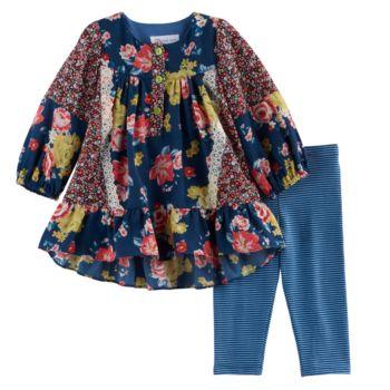 Baby Girl Bonnie Jean Floral Woven Top & Striped Leggings Set