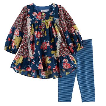 Baby Girl Bonnie Jean Floral Woven Top & Striped Leggings Set