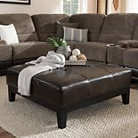 Baxton Studio Faux-Leather Coffee Table Ottoman