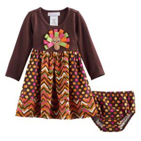 Baby Girl Bonnie Jean Thanksgiving Turkey Dress & Bloomers Set