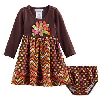 Baby Girl Bonnie Jean Thanksgiving Turkey Dress & Bloomers Set