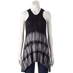 Women's French Laundry Tie-Dye Cutout Tunic Tank