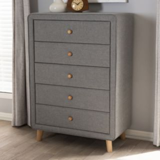Baxton Studio Jonesy Upholstered 5-Drawer Dresser
