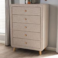 Baxton Studio Jonesy Upholstered 5-Drawer Dresser