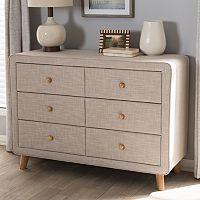 Baxton Studio Jonesy Upholstered 6-Drawer Dresser
