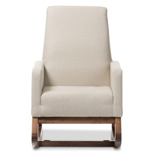Baxton Studio Mid-Century Upholstered Rocking Chair