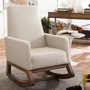 Baxton Studio Mid-Century Upholstered Rocking Chair