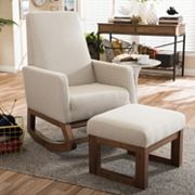 Baxton Studio Mid-Century Rocking Chair & Stool 2 pc Set
