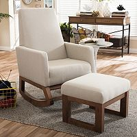 Baxton Studio Mid-Century Rocking Chair & Stool 2 pc Set