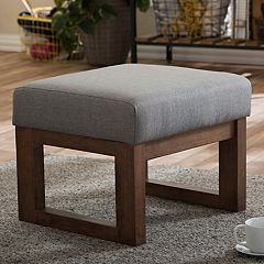 Baxton Studio Mid-Century Upholstered Stool