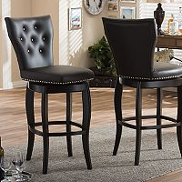 Baxton Studio Leonice Faux-Leather Swivel Counter Stool 2-piece Set