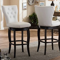 Baxton Studio Leonice Faux-Leather Swivel Counter Stool 2 pc Set
