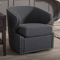 Baxton Studio Finley Swivel Tub Accent Chair