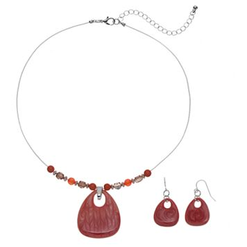 Plus Size Pink Beaded Teardrop Necklace & Drop Earring Set
