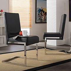 Baxton Studio Toulan Faux-Leather Dining Chair 2 pc Set