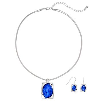 Plus Size Cabochon Rectangle Pendant Necklace & Drop Earring Set