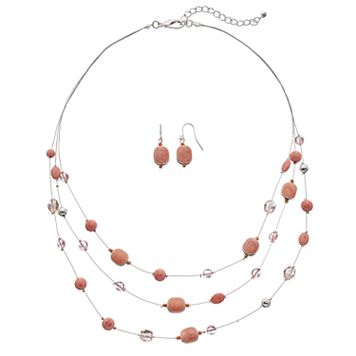 Peach Swirling Geometric Illusion Necklace & Drop Earring Set