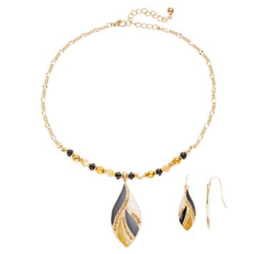 Plus Size Beaded Marquise Necklace & Drop Earring Set