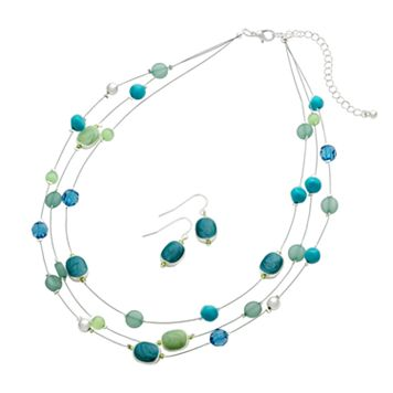 Plus Size Illusion Necklace & Drop Earring Set