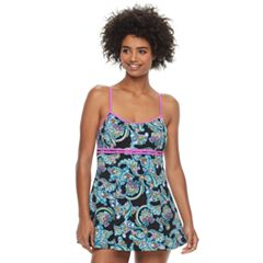 Women's A Shore Fit Hip Minimizer Printed One-Piece Swimdress