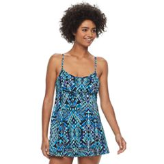 Women's A Shore Fit Hip Minimizer Drawstring One-Piece Swimdress