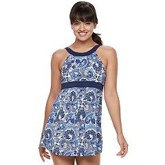 Women's A Shore Fit Hip Minimizer One-Piece Swimdress & Semi High-Waisted Bottoms Set