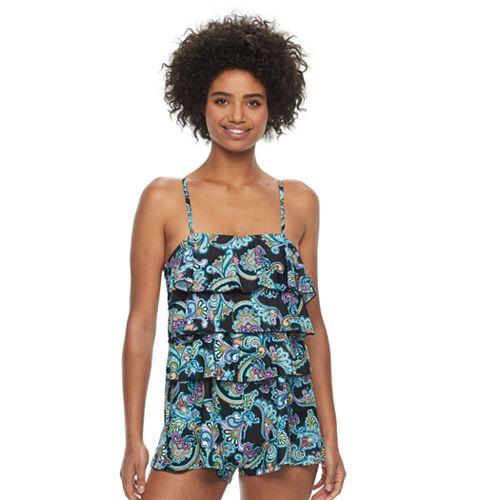 586da97deda Women's A Shore Fit Hip Minimizer Tiered One-Piece Swim Romper