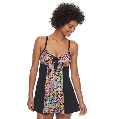 Women's A Shore Fit Hip Minimizer Colorblock Swimdress