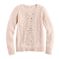 Girls 7-16 & Plus Size Pink Republic Embellished Cable Knit Sweater
