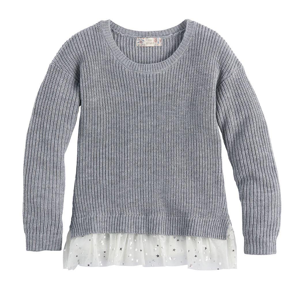 Girls 7-16 & Plus Size Pink Republic Tulle Hem Metallic Sweater