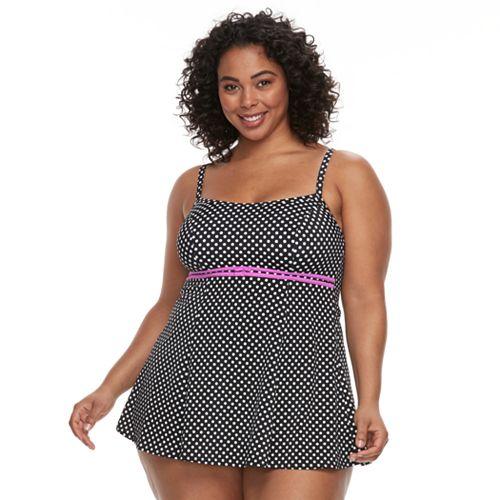 Plus Size A Shore Fit Hip Minimizer Printed One-Piece Swimdress