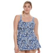 Plus Size A Shore Fit Hip Minimizer Drawstring One-Piece Swimdress