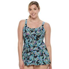 Plus Size A Shore Fit Hip Minimizer Drawstring Swimdress