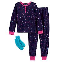 Girls 4-14 Cuddl Duds Fleece Top & Bottoms Pajama Set with Slipper Socks
