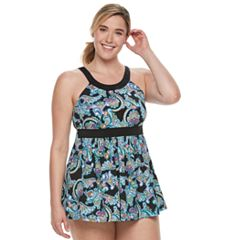 Plus Size A Shore Fit Hip Minimizer One-Piece Swimdress and Brief Bottoms Set