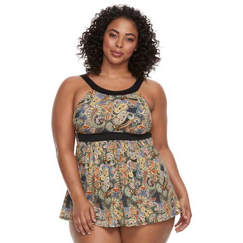 Plus Size A Shore Fit Hip Minimizer One-Piece Swimdress and Brief Bottoms Set