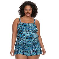 Plus Size A Shore Fit Hip Minimizer Tiered Swim Romper