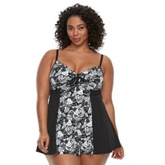 Plus Size A Shore Fit Hip Minimizer Colorblock One-Piece Swimdress