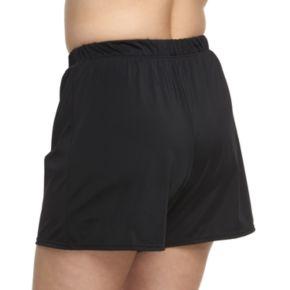 Plus Size A Shore Fit Hip Minimizer Swim Shorts