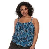 Plus Size A Shore Fit Tummy Slimmer Mesh Blouson Tankini Top