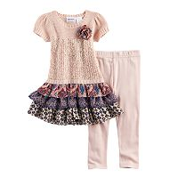 Baby Girl Blueberi Boulevard Ruffled Tiered Skirt Sweater Dress & Leggings Set