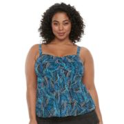 Plus Size A Shore Fit Tummy Slimmer Mesh Bandeaukini Top