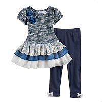 Baby Girl Blueberi Boulevard Ruffled Tiered Skirt Marled Sweater Dress & Leggings Set