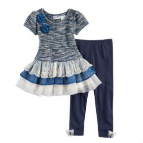Baby Girl Blueberi Boulevard Ruffled Tiered Skirt Marled Sweater Dress & Leggings Set