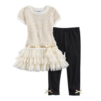 Baby Girl Blueberi Boulevard Open Knit Sweater Dress & Bow Leggings Set