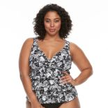 Plus Size A Shore Fit Tummy Slimmer Tiered Tankini Top