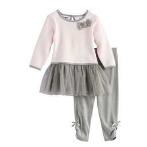 Baby Girl Blueberi Boulevard Glitter Tutu Skirt Textured Top & Bow Leggings Set